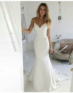 Simple Spaghetti Straps Satin Mermaid White Wedding Dress WD2117