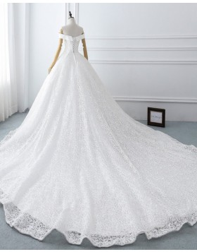 Elegant Off the Shoulder Lace White Ball Gown Wedding Dress WD2118