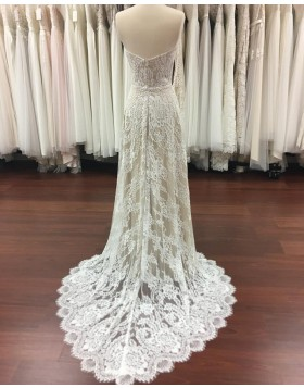 Sweetheart Lace Champagne Sheath Wedding Dress with Court Train WD2119