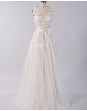 V-neck Lace Appliqued Champagne A-line Tulle Wedding Dress WD2120