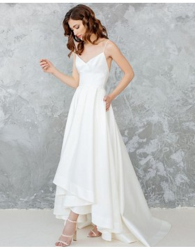Spaghetti Straps High Low White Satin Pleated Wedding Dress with Pockets WD2121