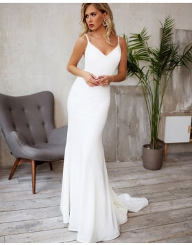 Spaghetti Straps Mermaid Satin White Wedding Dress with Beading Belt WD2122