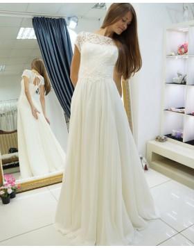 Bateau Lace Bodice Ivory A-line Pleated Wedding Dress with Keyhole Back WD2123