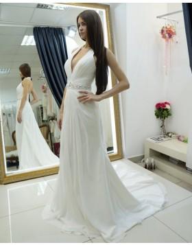 Halter Ruched Sheath White Beach Wedding Dress with Beading Belt WD2124