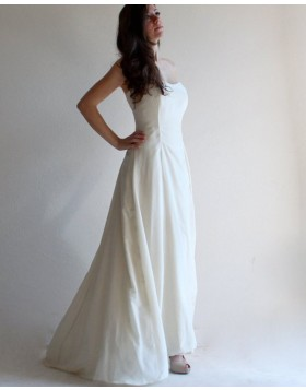 Simple Strapless Satin Ivory Simple Beach Wedding Dress with Lace Up WD2125