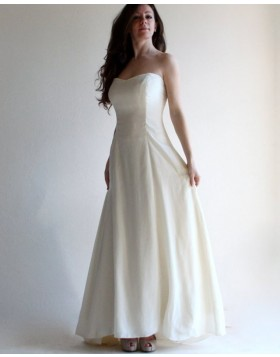 2c88c7e5885 Simple Strapless Satin Ivory Simple Beach Wedding Dress with Lace Up WD2125  ...