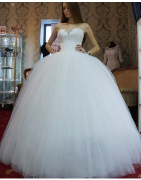 Sweetheart Beading Bodice White Tulle Pleated Ball Gown Wedding Dress WD2127