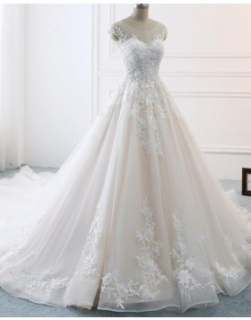 Elegant Scoop Lace Appliqued Champagne Pleated Wedding Dress WD2128