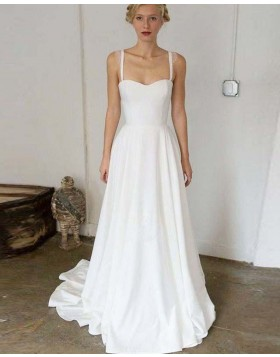 Simple Square Satin A-line Pleated White Beach Wedding Dress WD2129
