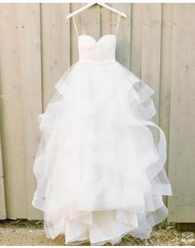 Spaghetti Straps White Ruffle Ball Gown Wedding Dress WD2132