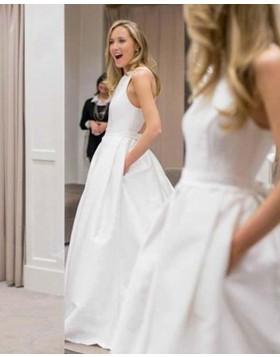 Simple White Jewel A-line Wedding Dress with Pockets WD2133