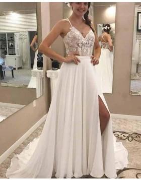 Spaghetti Straps Lace Bodice White Chiffon Wedding Dress with Side Slit WD2137
