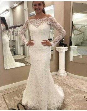 Off the Shoulder Long Sleeve Mermaid Style Vintage Wedding Dress WD2138