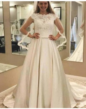 High Neck Lace Bodice Ivory Satin Pleated Fall Wedding Dress WD2139