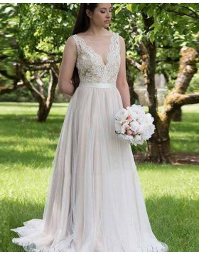 V-neck Nude Lace Bodice Pleated A-line Wedding Dress WD2140