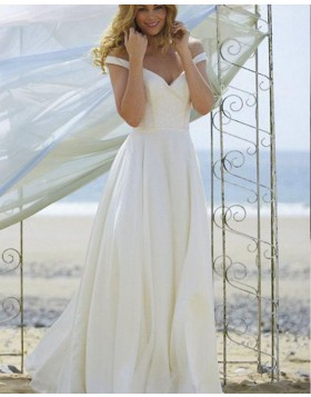 Off the Shoulder Ruched Simple Ivory Wedding Dress WD2142