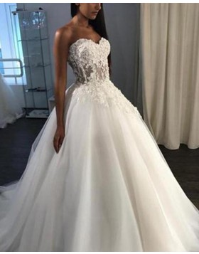 Sweetheart Lace Bodice Tulle White Ball Gown Wedding Dress WD2144