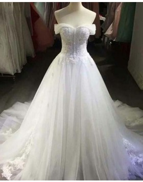Off the Shoulder White Lace Applique Ball Gown Wedding Dress WD2149