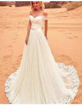 Off the Shoulder Pleated Ivory A-line Wedding Dress with Appliques WD2150