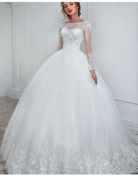 Jewel White Long Sleeve Lace Wedding Gown with Appliques WD2152