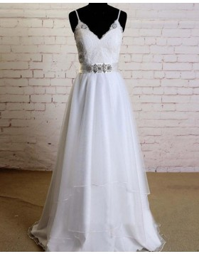 Spaghetti Straps Lace Bodice Beading A-line White Wedding Dress WD2153