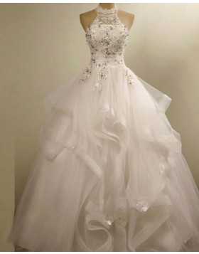 High Neck 3D Flower Applique Ruffle Wedding Gown WD2155