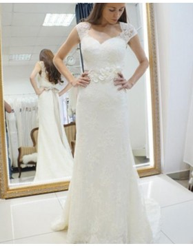 Queen Anne Lace Ivory Sheath Wedding Dress with 3D Flowers WD2160