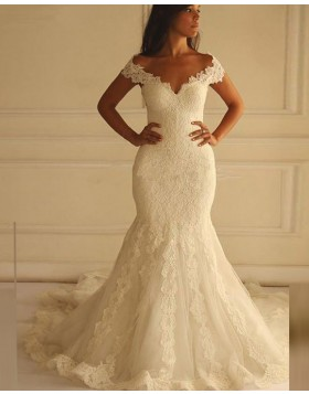 Vintage Off the Shoulder Lace Ivory Mermaid Wedding Dress WD2170