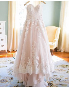 Spaghetti Straps Pink Lace Applique A-line Wedding Dress WD2173
