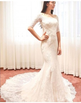 Scoop Lace Ivory Mermaid Wedding Dress with Half Length Sleeves WD2175