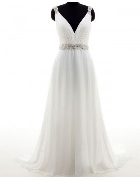Simple V-neck Tulle Ruched Ivory Wedding Dress with Beading Belt WD2177