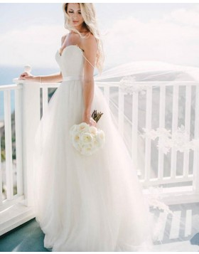 Simple Sweetheart Ivory Pleated Tulle Wedding Dress WD2178