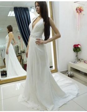 Halter Ruched Chiffon White Wedding Dress with Beading Belt WD2181