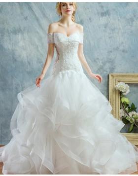 Off the Shoulder White Beading Ruffle Mermaid Wedding Dress WD2187