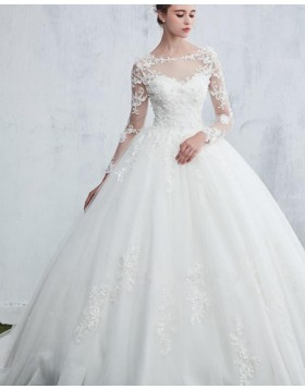 Jewel Lace Bodice White Ball Gown Wedding Dress with Long Sleeves WD2188