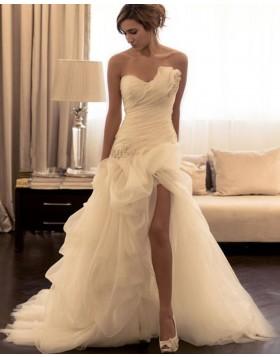 Asymmetric Ruched Beading Ivory Mermaid Wedding Dress with Side Slit WD2191