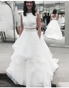 Jewel White Two Piece Ruffle Simple Wedding Dress WD2192