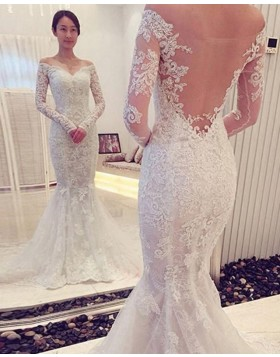 Off the Shoulder Lace White Wedding Dress with Long Sleeves WD2194