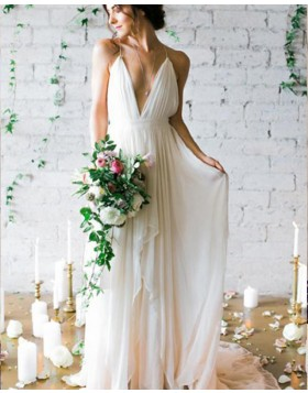 Simple Spaghetti Straps Pleated Chiffon Beach Wedding Dress WD2195
