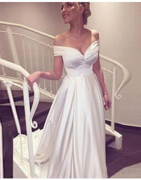 Off the Shoulder Ivory Satin Simple Wedding Dress WD2196