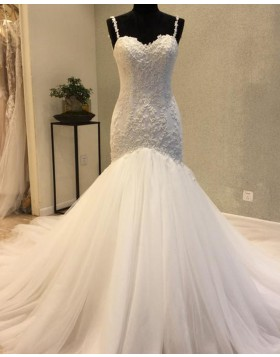 Elegant Square Beading Pleated Mermaid Wedding Dress WD2200