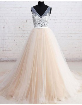 V-neck Lace Applique Champagne Tulle Wedding Dress WD2204