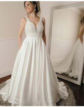 Deep V-neck Beading Bodice Pleated Satin Fall Wedding Dress with Pockets WD2207