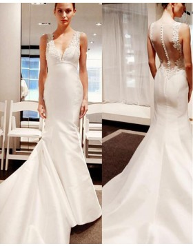 Simple Ivory V-neck Applique Satin Mermaid Wedding Dress WD2210