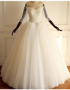Off the Shoulder Ruch Tulle Pleated Ball Gown Wedding Dress with 3/4 Length Sleeves WD2211