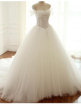 Off the Shoulder Beading Bodice Ivory Tulle Wedding Gown WD2212
