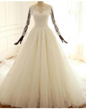 Jewel Lace Applique Ivory Pleated A-line Wedding Dress with Long Sleeves WD2213