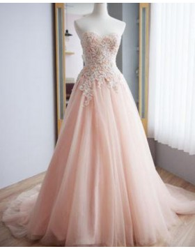 Sweetheart Pink Lace Applique Tulle A-line Wedding Dress WD2214