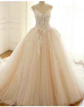 Gorgeous V-neck Lace Applique Champagne Ball Gown Wedding Dress WD2215