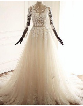 High Neck Lace Applique Tulle A-line Wedding Dress with Long Sleeves WD2223